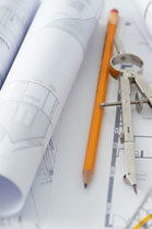 design blueprints and pencil